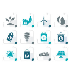 stylized green and environment icons vector image