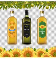 Sunflowers and olive oils bottle labels with vector
