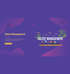 Talent management concept with big text and team vector