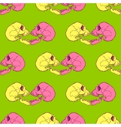 Terrible frightening seamless pattern with skull vector