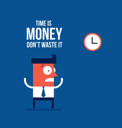time is money concept businessman and the clocks vector image