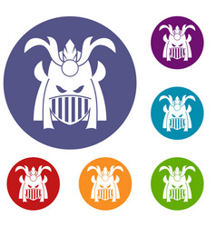 tribal helmet icons set vector image