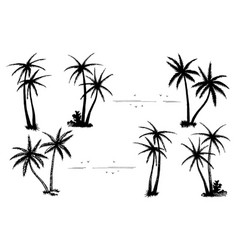 tropical palm black silhouettes set vector image