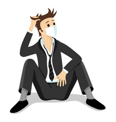 unemployed businessman in a protective mask vector image