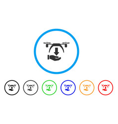 unload drone rounded icon vector image