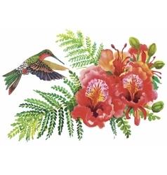 Watercolor wild exotic birds on flowers vector