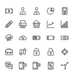 Web and mobile ui line icons 6 vector