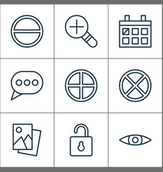 web icons set with open lock remove messaging vector image