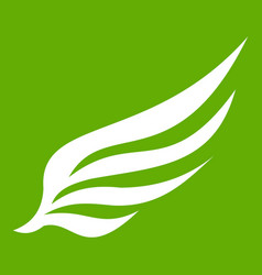 Wing icon green vector