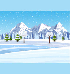 winter snowy mountains landscape vector image