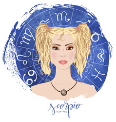 zodiac signs scorpio in image of beauty girl vector image