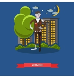 Zombie walks on a street happy halloween holiday vector