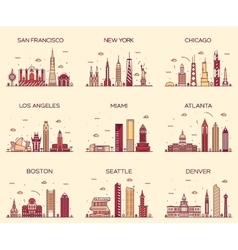 American cities skyline trendy linear vector image