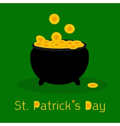 Black pot full of leprechauns gold coins vector image