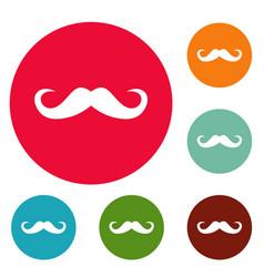 Handlebar mustache icons circle set vector