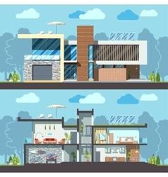 Modern house facade section vector