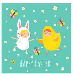 Easter bunny chicken vector