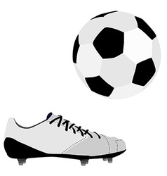 Football ball and shoe vector image