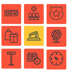 Set of 9 transportation icons includes airport vector
