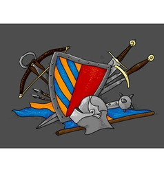 shield medieval hand drawing vector image