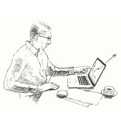 Sketch hands computer man office top view drawn vector image vector image