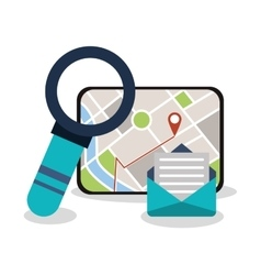 Tablet and gps map design vector