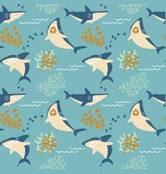 cartoon angry sharks seamless pattern vector image