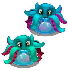 funny octopus from the aquarium sea creature vector image
