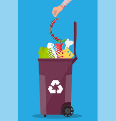 garbage bin container full of junk food vector image