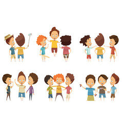 groups of boys cartoon style set vector image vector image