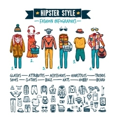 Hipster fashion clothing infographic doodle banner vector image