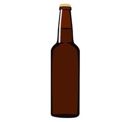 Brown beer bottle vector image