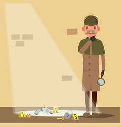 Crime scene detective character man crime scene vector