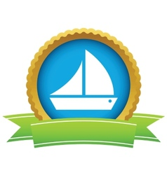 Gold ship logo vector image