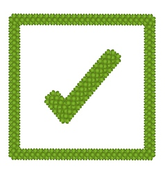 Green Clover of Check Mark Icon in Square Frame vector image