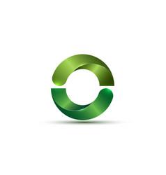 3d logo bio design glossy green semi circles sign vector