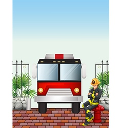 A fireman sitting above a hydrant vector