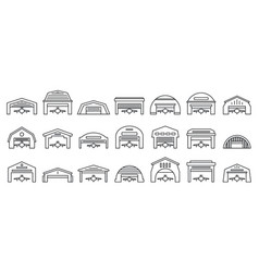 Airport hangar icons set outline style vector