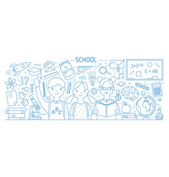 back to school horizontal web banner with smiling vector image