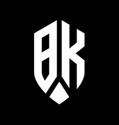 bk logo monogram with emblem shield style design vector image