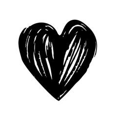 Black hand drawn heart dry ink brush vector
