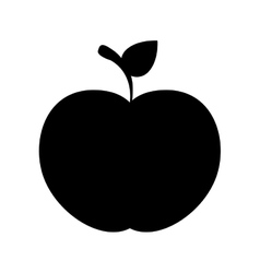 Black silhouette apple with stem and leafs vector