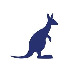 Blue kangaroo silhouette australia vector