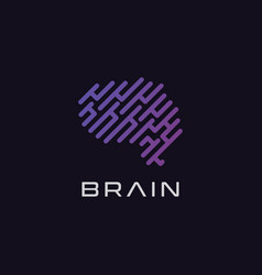 Brain logo design inspiration template vector