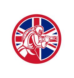 British sandblaster abrasive blasting union jack vector