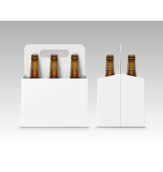 Brown Bottles of Dark Beer with Carton Packaging vector image