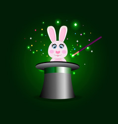 bunny in magic hat with wand on green sparkling vector image