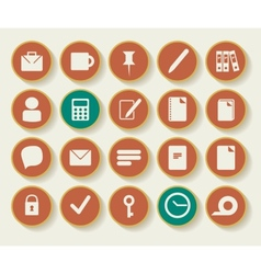 Business and Office Icons with White Background vector image