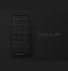 Calendar mobile ios app march 2022 ui ux vector