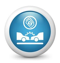 Car Crash glossy icon vector image